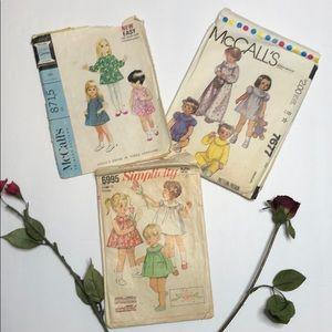 Set of 3 Vintage child dress patterns (10 outfits)